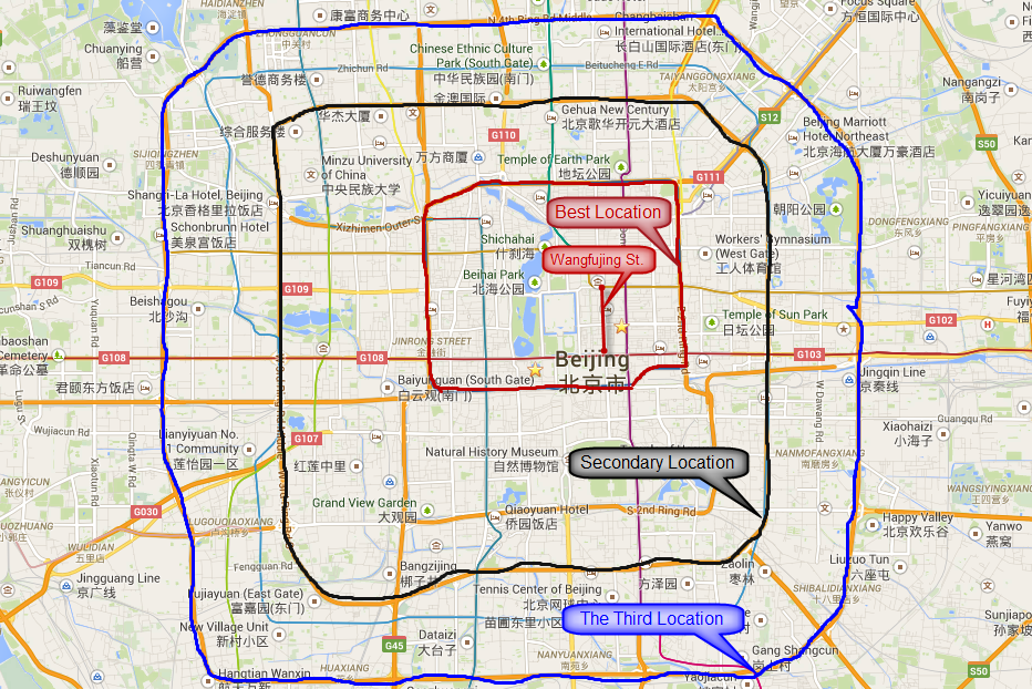 Map of Beijing City Center Area