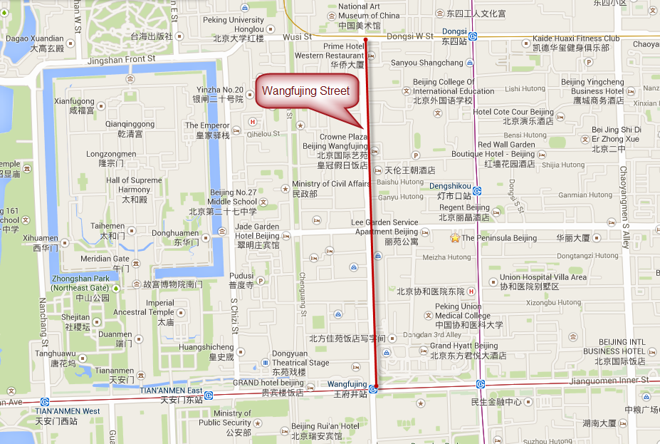 Map of Wangfujing Street