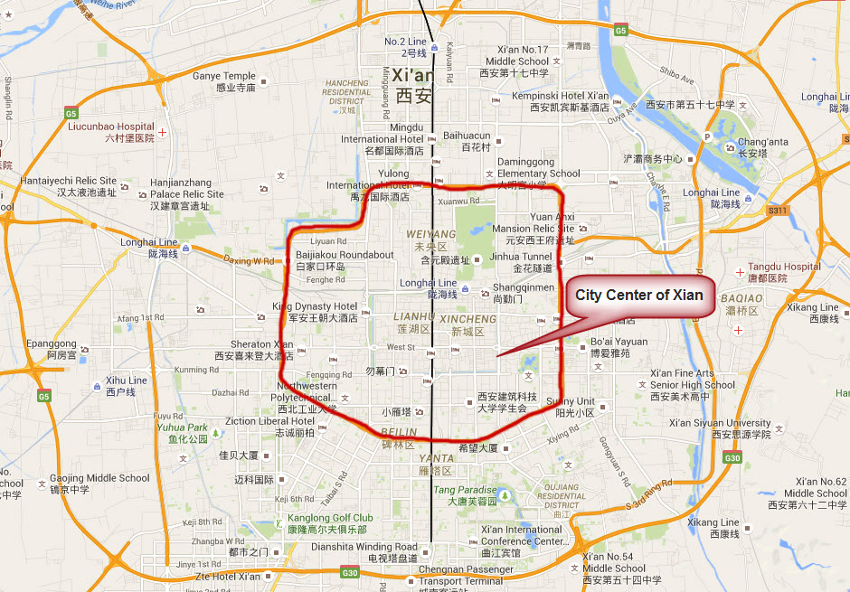 Map of XianCity Center Area